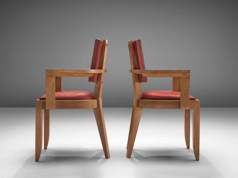French Charles Dudouyt Set of Red Leather Dining Chairs in Oak