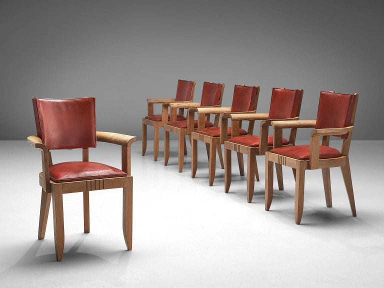 Charles Dudouyt Set of Red Leather Dining Chairs in Oak In Good Condition In Waalwijk, NL