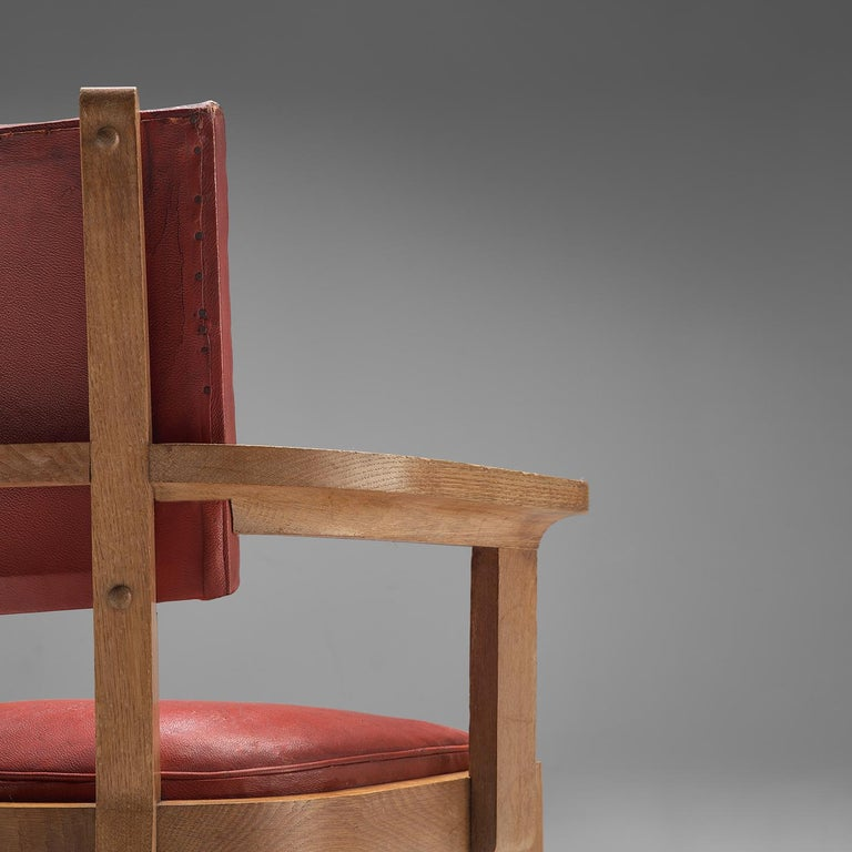 Mid-20th Century Charles Dudouyt Set of Red Leather Dining Chairs in Oak