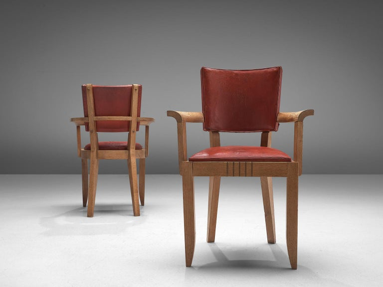 Charles Dudouyt Set of Red Leather Dining Chairs in Oak 1