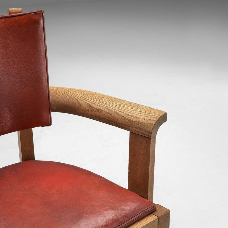 Charles Dudouyt Set of Red Leather Dining Chairs in Oak 2