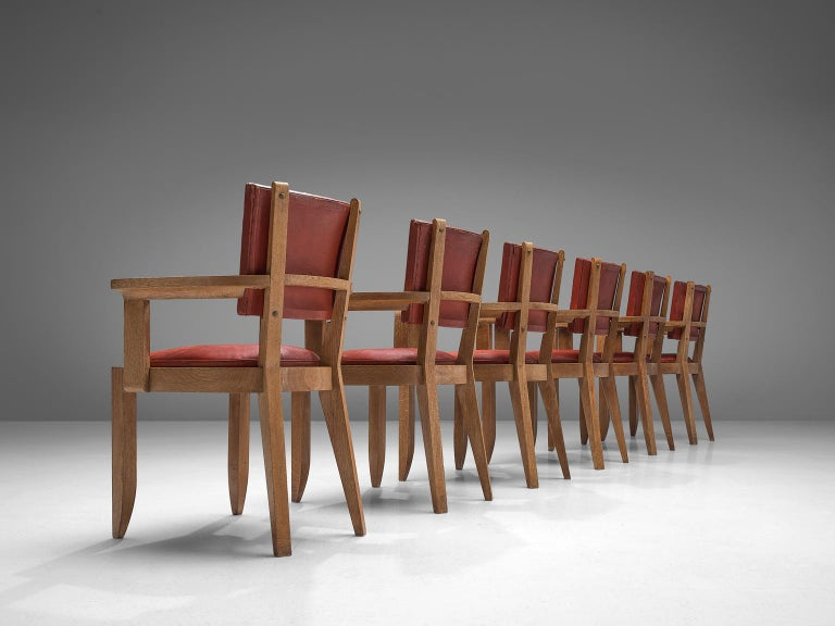 Charles Dudouyt Set of Red Leather Dining Chairs in Oak 3