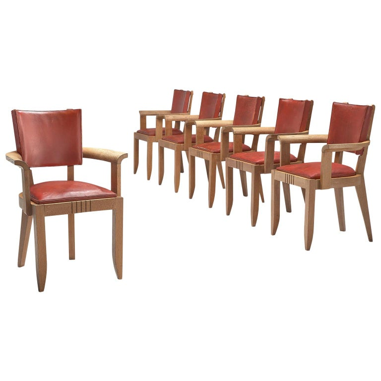 Charles Dudouyt Set of Red Leather Dining Chairs in Oak