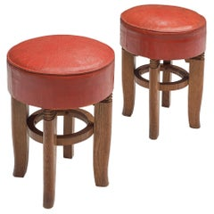 Charles Dudouyt Two Stools in Red Leather