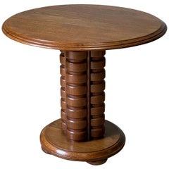 Charles Duduoyt Oak Side Table, France, 1930s