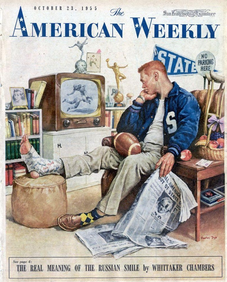 The Big Game, American Weekly cover - Brown Figurative Painting by Charles Dye