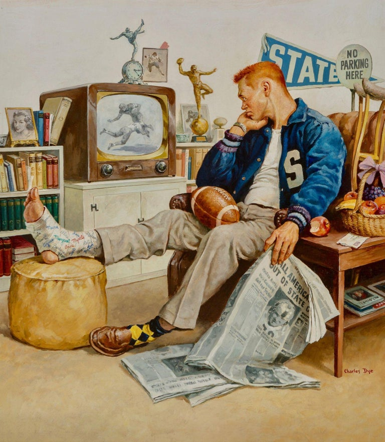 Charles Dye Figurative Painting - The Big Game, American Weekly cover