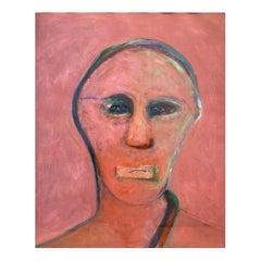 "Charles E. Barnes ""Self-Portrait"", Expressionist Gouache Painting, 1980"