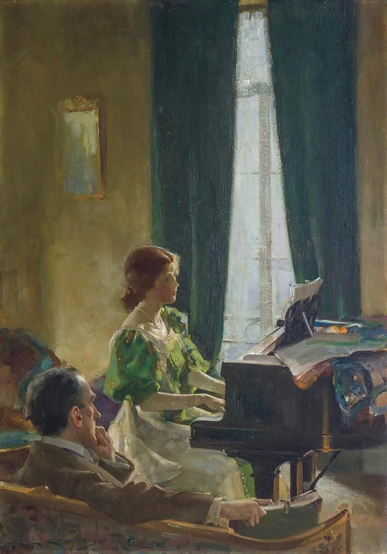 Charles E. Chambers Interior Painting - The Piano Lesson