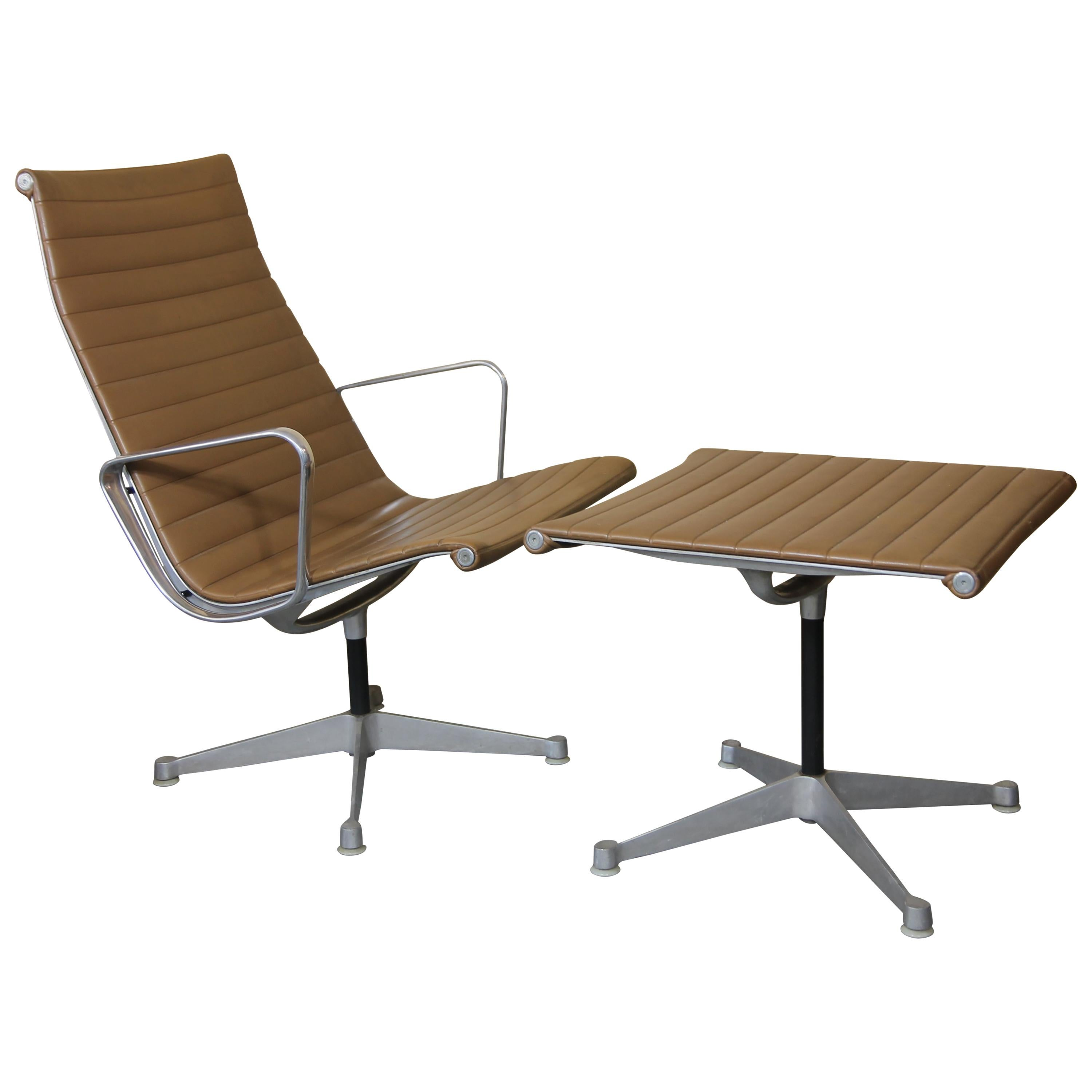 Charles Eames Aluminum Group Lounge And Ottoman For Sale At 1stdibs