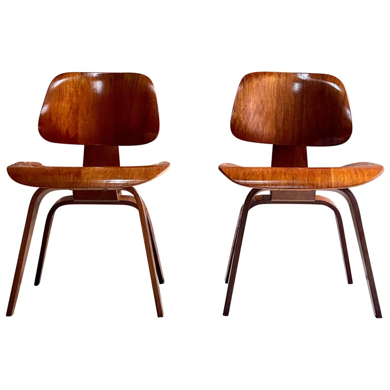 Charles Eames DCW Dining Chairs by Herman Miller, circa 1950 For Sale