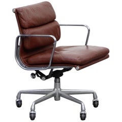 Charles Eames for Herman Miller Brown Leather Soft Pad Management Chair, Signed
