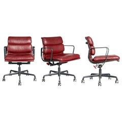 Charles Eames for Herman Miller Burgundy Soft Pad Management Chairs, circa 1980