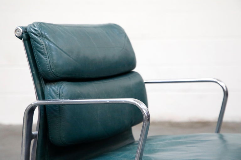 Charles Eames for Herman Miller Green Leather Soft Pad Management Chair, Signed For Sale 3