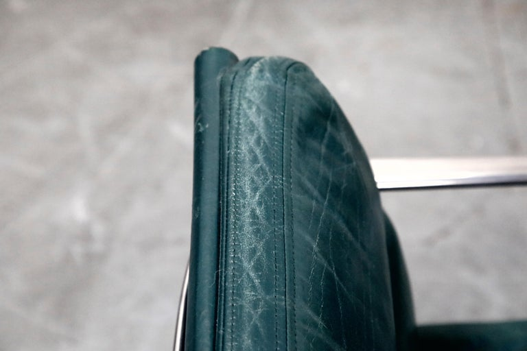 Charles Eames for Herman Miller Green Leather Soft Pad Management Chair, Signed For Sale 8