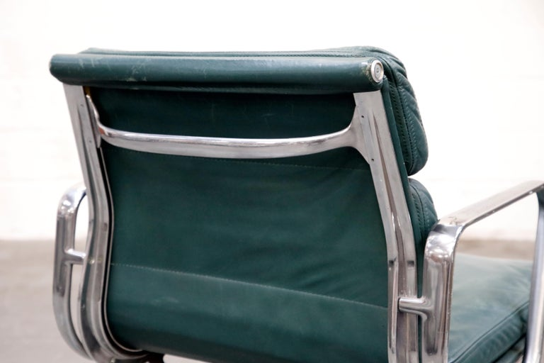 Charles Eames for Herman Miller Green Leather Soft Pad Management Chair, Signed For Sale 9