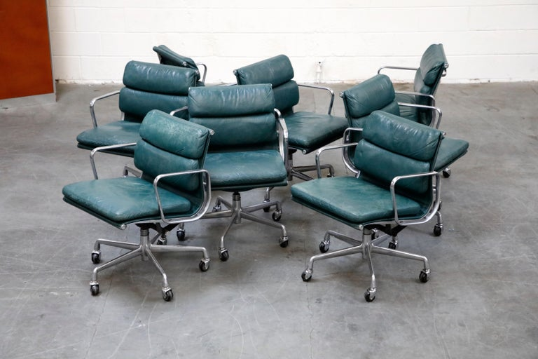Late 20th Century Charles Eames for Herman Miller Green Leather Soft Pad Management Chair, Signed For Sale