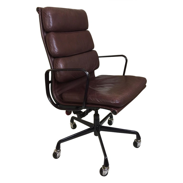 Charles Eames for Herman Miller Leather Soft Pad Chair For Sale