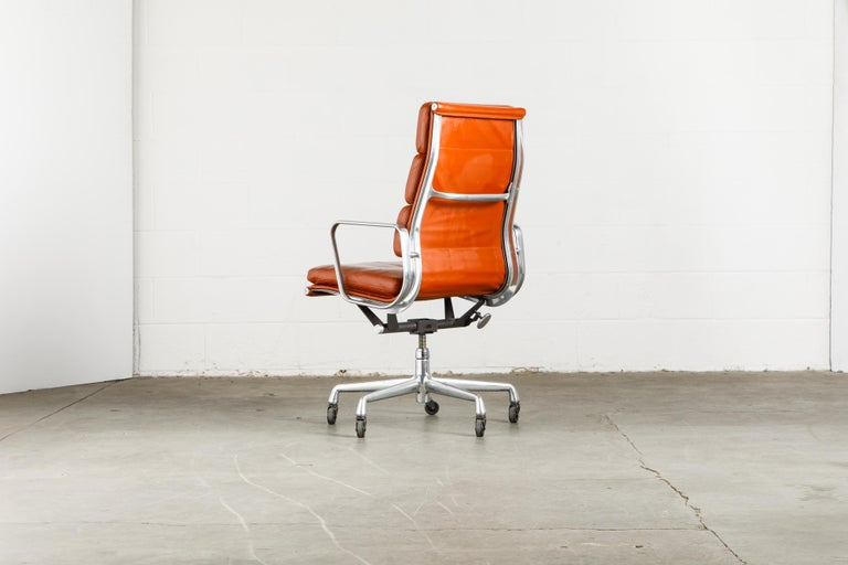 Charles Eames for Herman Miller Leather 'Soft Pad' Executive Desk Chairs, Signed For Sale 3