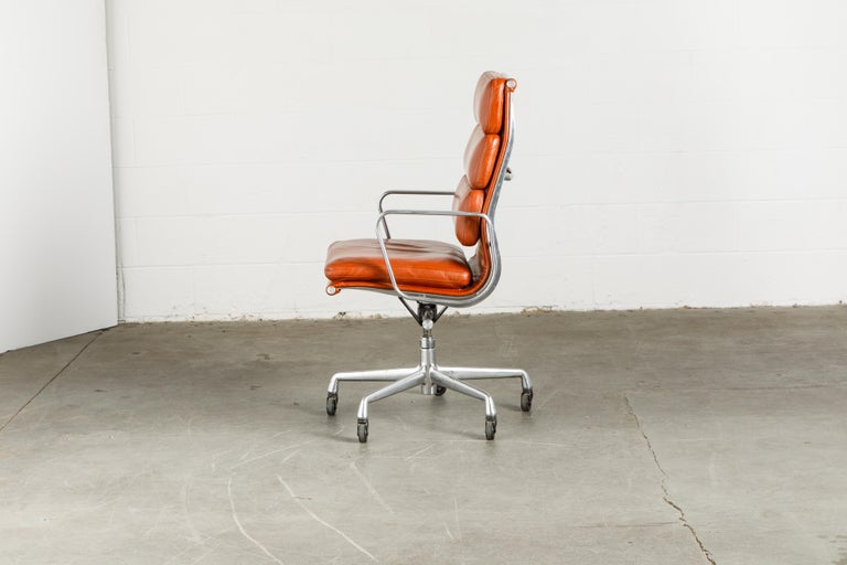 Charles Eames for Herman Miller Leather 'Soft Pad' Executive Desk Chairs, Signed For Sale 4