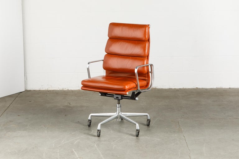 Charles Eames for Herman Miller Leather 'Soft Pad' Executive Desk Chairs, Signed For Sale 5