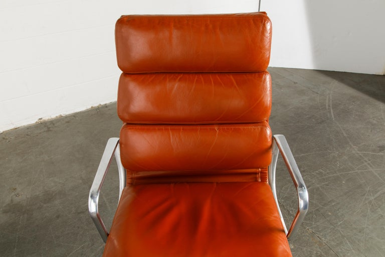 Charles Eames for Herman Miller Leather 'Soft Pad' Executive Desk Chairs, Signed For Sale 7