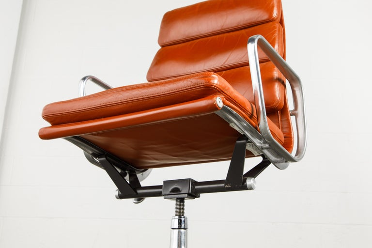 Charles Eames for Herman Miller Leather 'Soft Pad' Executive Desk Chairs, Signed For Sale 8