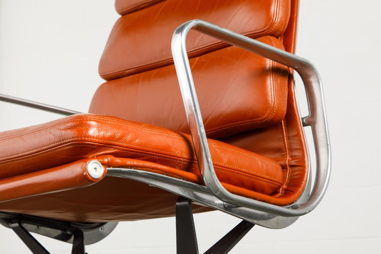 Charles Eames for Herman Miller Leather 'Soft Pad' Executive Desk Chairs, Signed For Sale 11