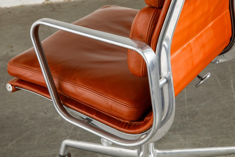 Charles Eames for Herman Miller Leather 'Soft Pad' Executive Desk Chairs, Signed For Sale 12