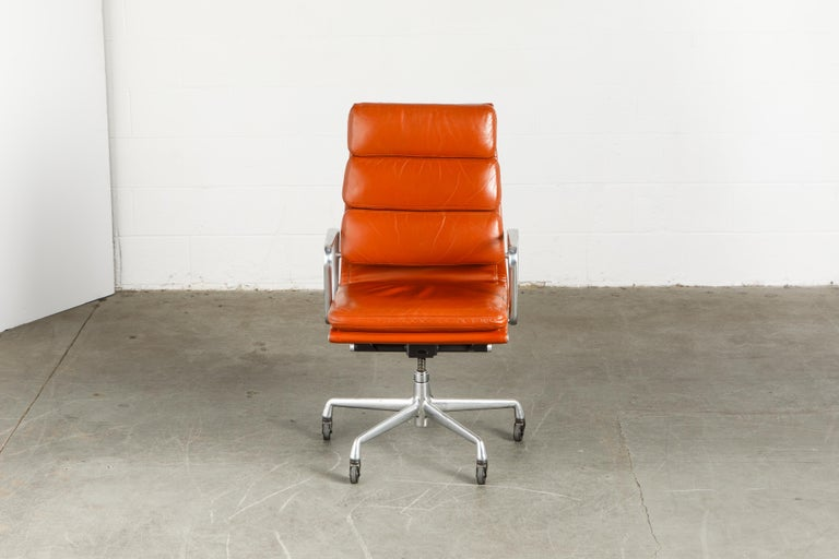 Mid-Century Modern Charles Eames for Herman Miller Leather 'Soft Pad' Executive Desk Chairs, Signed For Sale