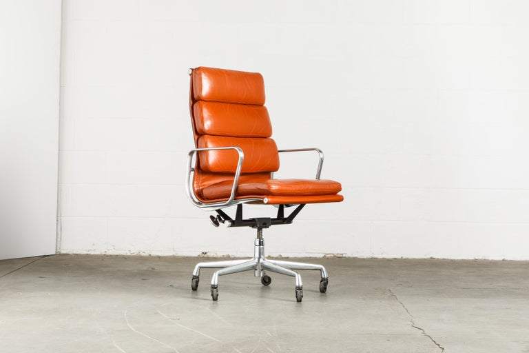 American Charles Eames for Herman Miller Leather 'Soft Pad' Executive Desk Chairs, Signed For Sale