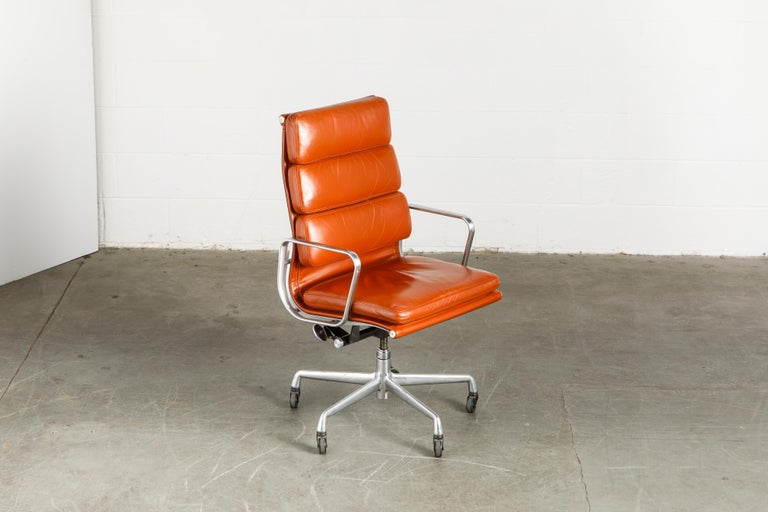 Charles Eames for Herman Miller Leather 'Soft Pad' Executive Desk Chairs, Signed In Good Condition For Sale In Los Angeles, CA
