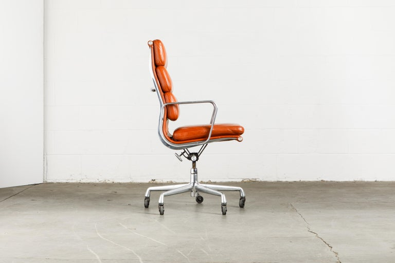 Contemporary Charles Eames for Herman Miller Leather 'Soft Pad' Executive Desk Chairs, Signed For Sale