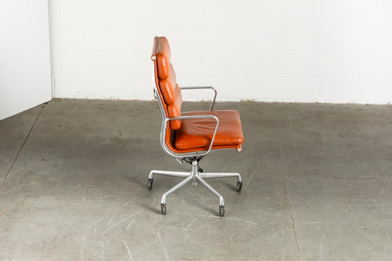 Aluminum Charles Eames for Herman Miller Leather 'Soft Pad' Executive Desk Chairs, Signed For Sale