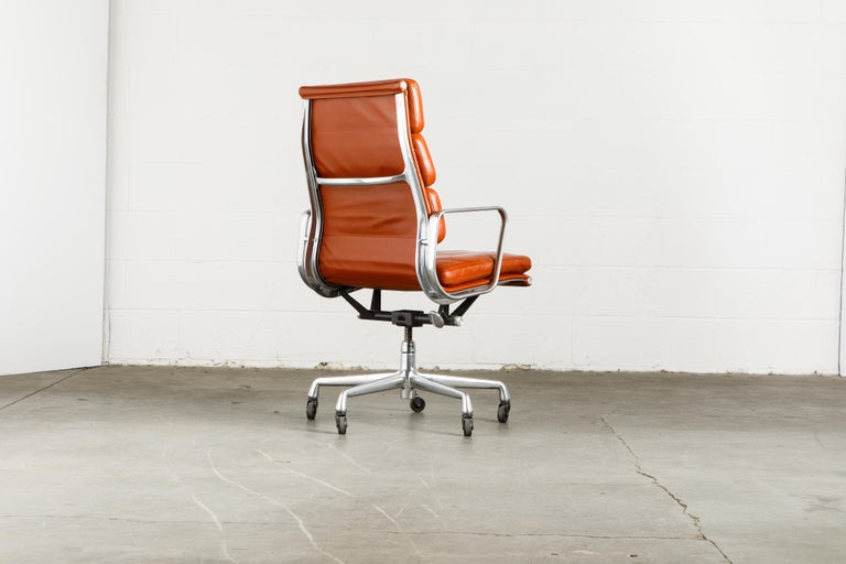 Charles Eames for Herman Miller Leather 'Soft Pad' Executive Desk Chairs, Signed For Sale 1