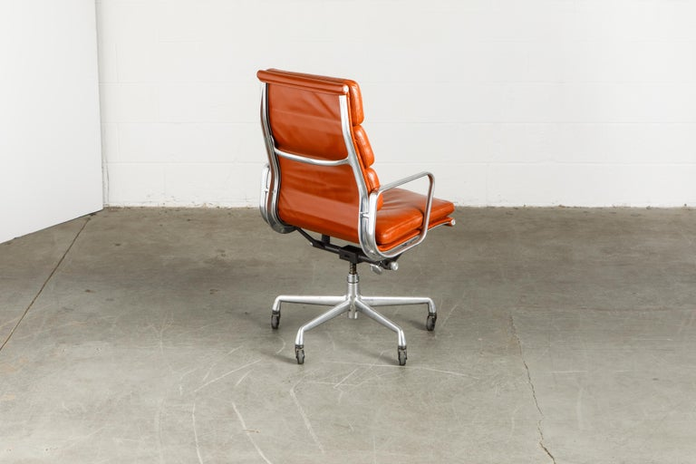Charles Eames for Herman Miller Leather 'Soft Pad' Executive Desk Chairs, Signed For Sale 2