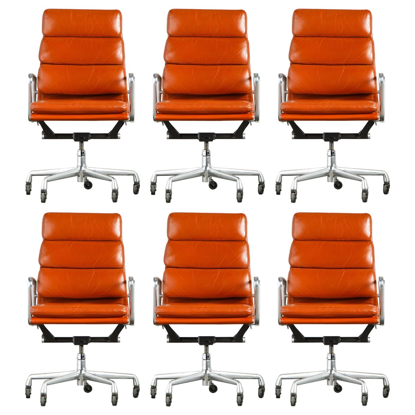 Charles Eames for Herman Miller Leather 'Soft Pad' Executive Desk Chairs, Signed