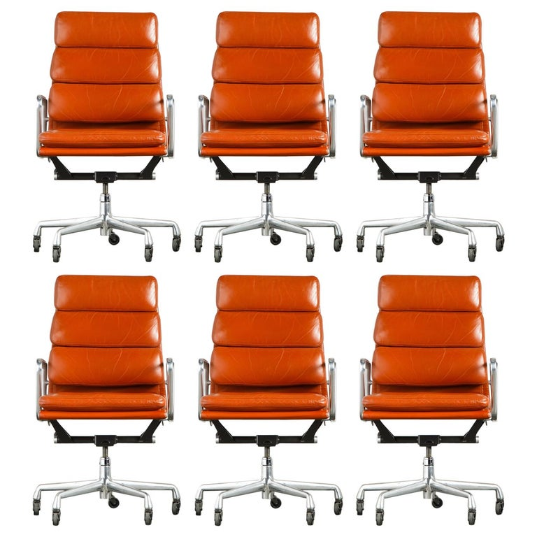 Charles Eames for Herman Miller Leather 'Soft Pad' Executive Desk Chairs, Signed For Sale