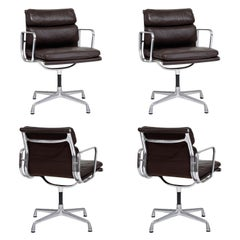 Charles Eames for Herman Miller Leather Soft Pad Swivel Armchairs, Set of Four