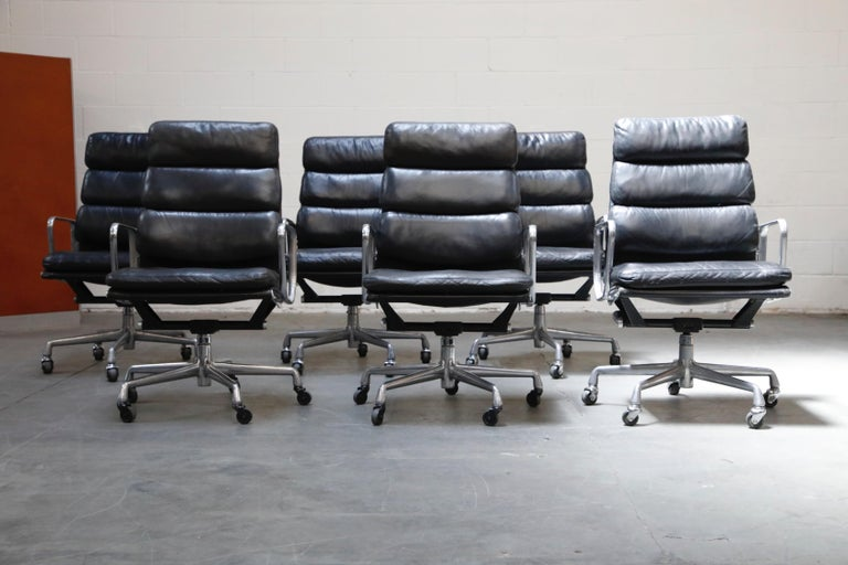 Late 20th Century Charles Eames for Herman Miller Soft-Pad Executive Desk Chairs, Signed For Sale
