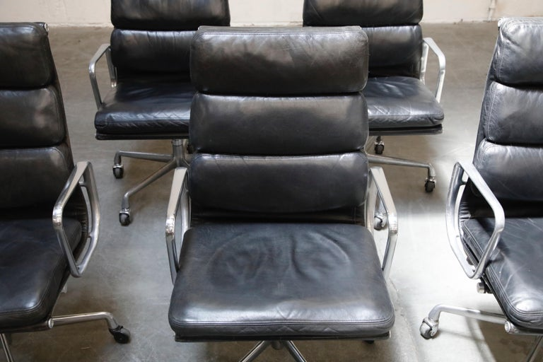 Aluminum Charles Eames for Herman Miller Soft-Pad Executive Desk Chairs, Signed For Sale