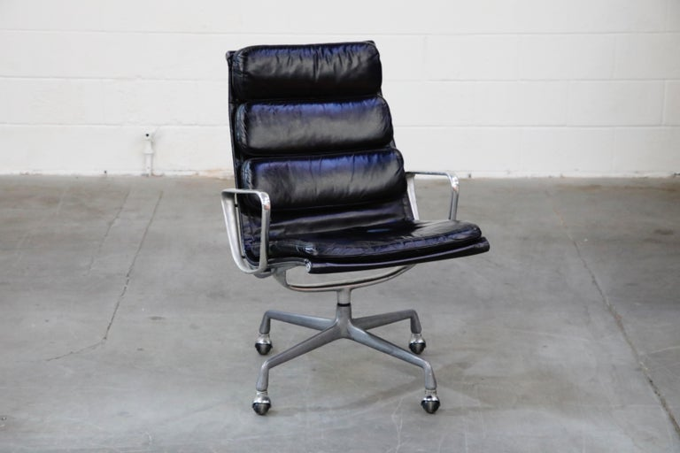 Mid-Century Modern Charles Eames for Herman Miller Soft Pad Swivel Lounge Chairs, 1970s, Signed For Sale