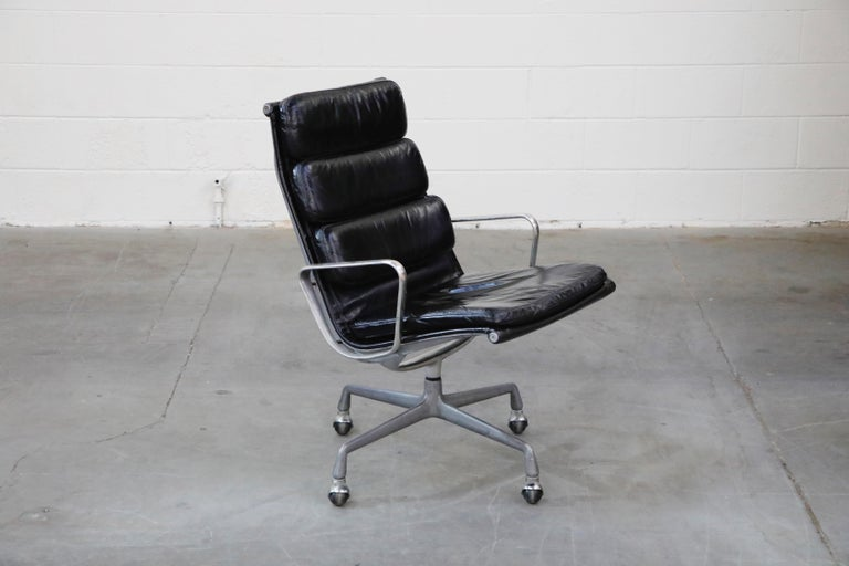 American Charles Eames for Herman Miller Soft Pad Swivel Lounge Chairs, 1970s, Signed For Sale