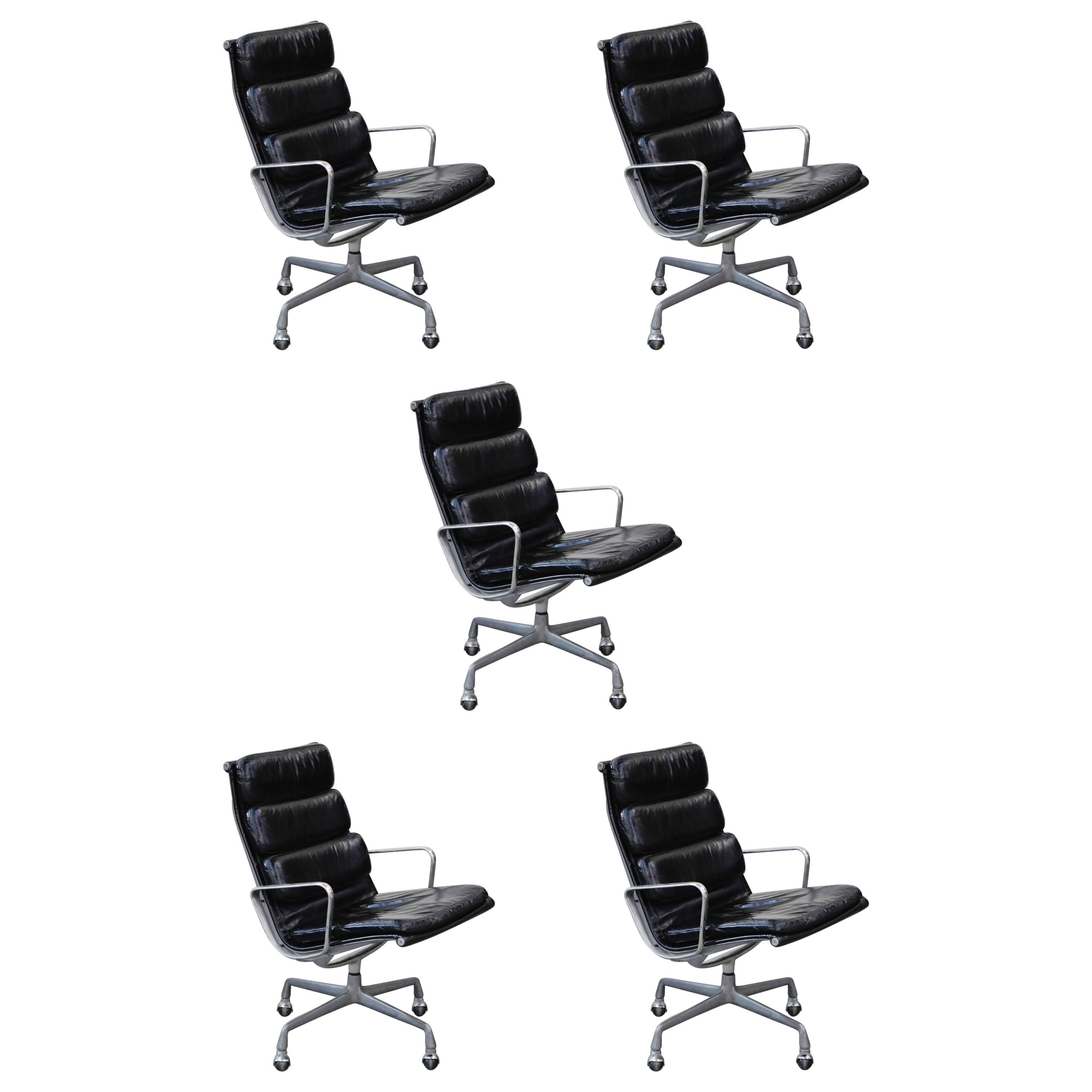 Charles Eames for Herman Miller Soft Pad Swivel Lounge Chairs, 1970s, Signed