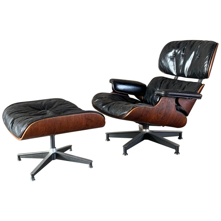 Charles Eames Herman Miller Lounge Chair and Ottoman 1956 For Sale