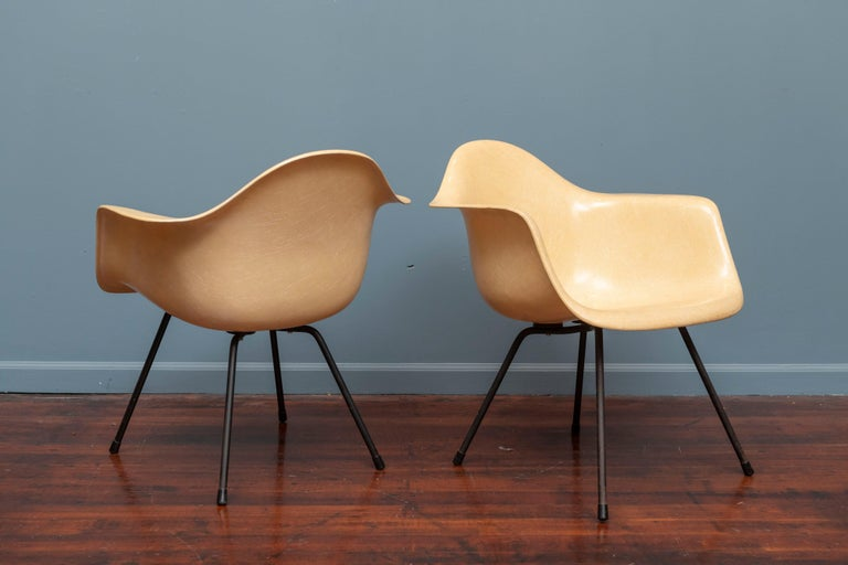 American Charles Eames LAX Armshell Lounge Chairs For Sale