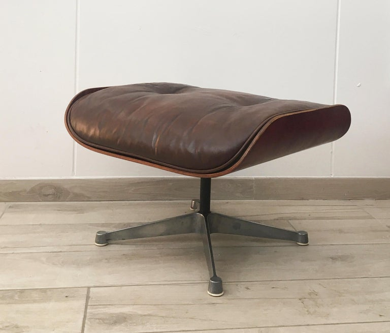 Unknown Charles Eames for Herman Miller Style Leather Ottoman For Sale