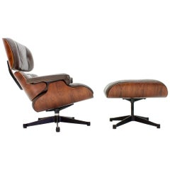 Charles Eames Lounge Chair with Ottoman in Chocolate Brown Leather