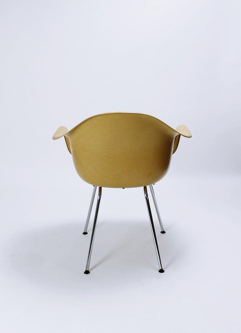 Fabric Charles Eames Molded  Fiberglass Dax Armchairs on H-Base