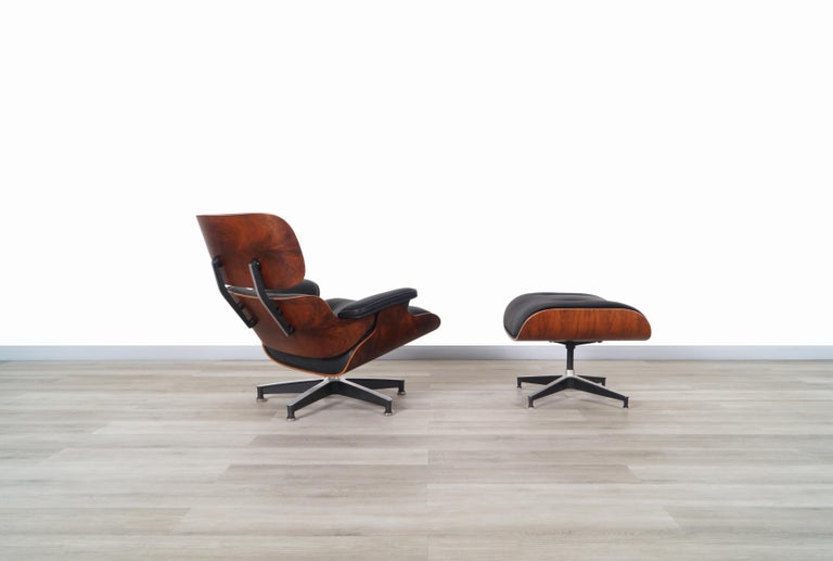 Mid-Century Modern Charles Eames Rosewood Lounge Chair and Ottoman by Herman Miller